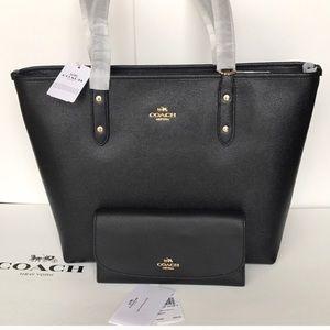 💦🌸coach tote set🌸shoulder bag and wallet black
